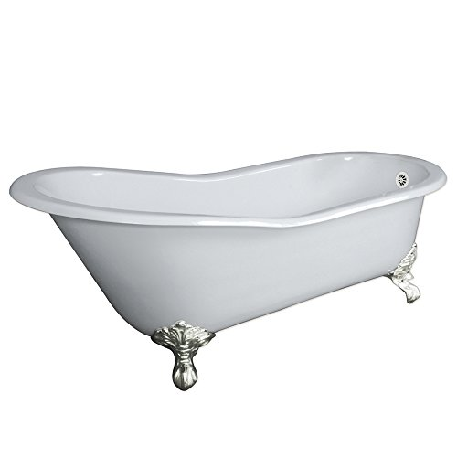 67' Cast Iron Slipper Tub with NO Faucet Holes & Brushed Nickel Feet- 'Clay'