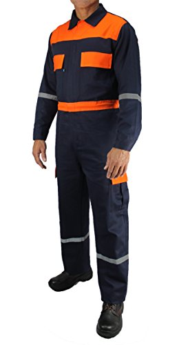 Kolossus men work deluxe long sleeve cotton coverall with reflective tape KC01 (XL Regular, Navy)
