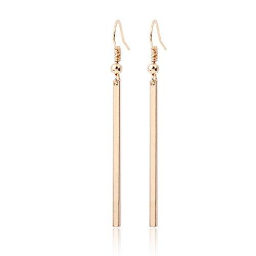BSGSH Simple Long Bar Dangle Hook Earrings Drop Earrings Fashion Jewelry for Women Girls (Gold)