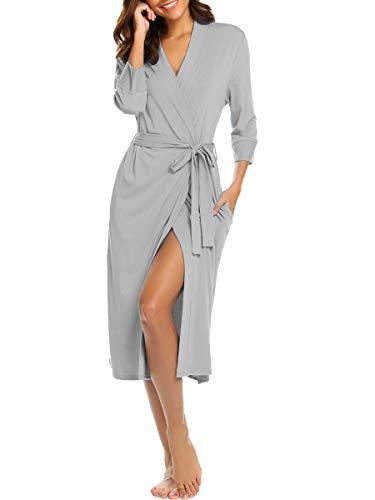 (BLUETIME Womens Soft Sleepwear Loungewear Cotton Wrap Bathrobe Long Kimono Robe (M, Gray))