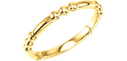 Dot-Dot-Dot-Dash Stacking 2.5mm 14k Yellow Gold Ring, Size 7.75 by The Men's Jewelry Store (for HER)
