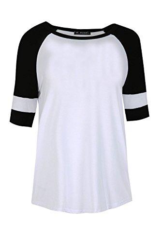 Star Fashion - Camiseta - para mujer blanco / negro