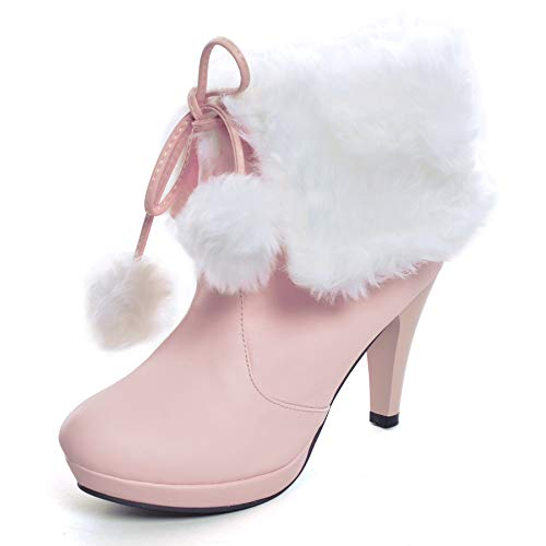 Women's High Heel Platform Lace Up Ankle Booties Outdoor Suede High-Reel Waterproof Faux Fur Snow Boots Pink 8.5