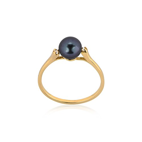 Regalia by Ulti Ramos Dainty and Chic 14K Gold Genuine Pearl and .02cts Diamond Ring (Black, Yellow-Gold) - Size 7