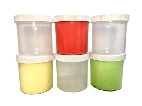 0a2c8f290856 Slime Storage Jars 6 oz SEMI-Transparent, Flexible, Soft, SHATTERPROOF,  Sturdy, Durable All Purpose containers - Art, Craft and Hobby Storage ...