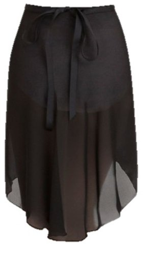 Capezio Adult Georgette Long Wrap Skirt Black Adult Small