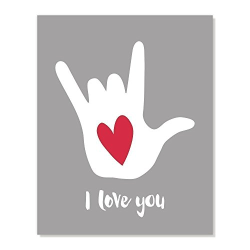 Asl Sign Love - Love You Sign Language Hand Poster Art Print with Red Heart (Charcoal Grey, 8x10)