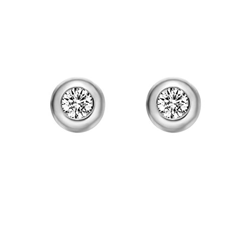 Diamond Ring Setting 18k - Carleen Solid 18K White Gold Solitaire Round 0.20cttw Diamond Stud Earrings for Women Girls, Diameter 4.8mm