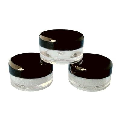 5ml vacío plástico cosméticos Tarros X 50claro con negro tapas para cremas/muestra/Maquillaje/con purpurina de almacenamiento