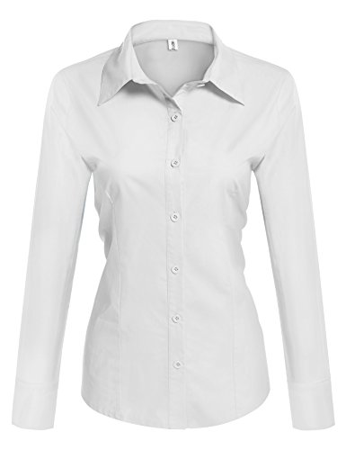 Hotouch womens long sleeve button down shirt with stretch for Womens stretch button down shirt