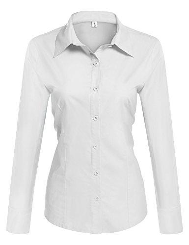 hotouch women collared button down long sleeve dress shirt