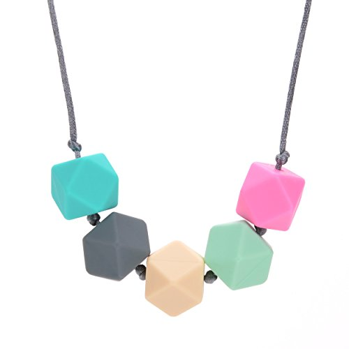 Silicone Teething Necklace BPA Free Turquoise Grey Ivory Mint Pink