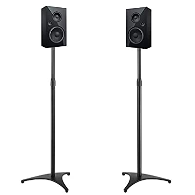 """PERLESMITH Adjustable Height Speaker Stands-Extends 30"""" to 45""""- Hold Satellite & Bookshelf Speakers Weight up to 8lbs-Heavy Duty Floor Stands for Surround Sound-1 Pair (Model: PSSS1)"""