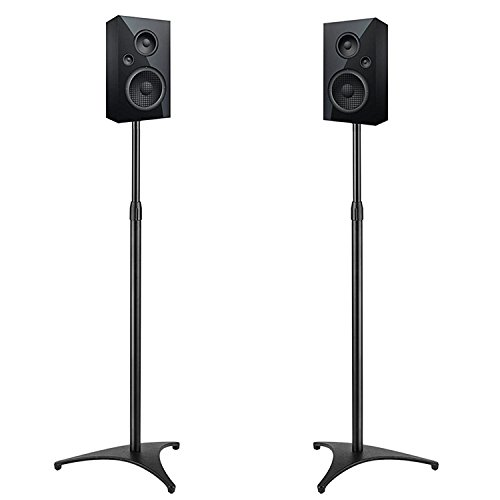 PERLESMITH Adjustable Height Speaker Stands-Extends 30-45 Inch-Hold Satellite & Small Bookshelf Speakers Weight up to 8lbs-Heavy Duty Floor Stands for Surround Sound-1 Pair (Model: PSSS1)