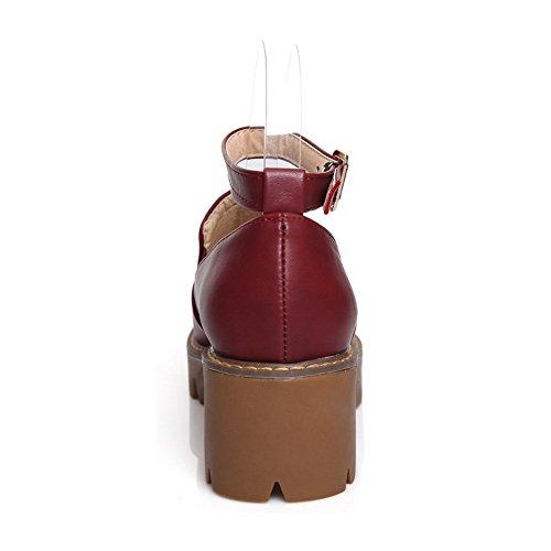 Boucle Pour Femme Balamasa Talon Compensé En Microfibres Solides, Rouge, Rouge (bourgogne), 35