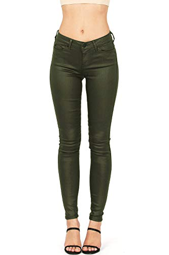 - Celebrity Pink Women's Juniors Mid-Rise Jeggings Fit Skinny Pants (5, Coated Olive)
