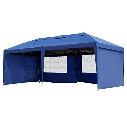 Outsunny 10' x 20' Easy Pop Up Canopy Party Tent with 4 Removable Sidewalls - ()