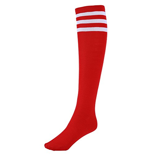 Mystylees Red Knee High Striped Socks with Three White Stripes