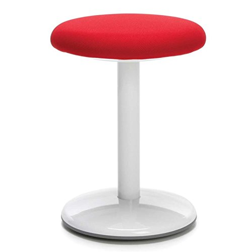 OFM Orbit Active Adjustable Stool - 18'' Tall Fabric Backless Stool, Red (2818-ATV-Red)