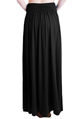 TRENDY UNITED Women's Rayon Spandex High Waist Shirring Maxi Skirt With Pockets (Blk, Medium) by TRENDY UNITED (Image #3)