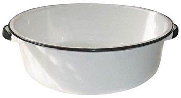 New Columbian Home F6416-4 White Enamel Dish Pan 15 Quart Ceramic On Steel New