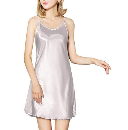 (Women Sexy Lingerie Satin Slip Strap V Neck Chemises Sleepwear Plus Size JHKUNO Silver)