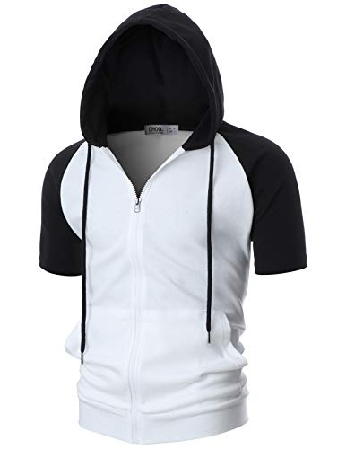 OHOO Mens Slim Fit Short Sleeve Lightweight Raglan Zip-up Hoodie with Kanga Pocket/DCF077-WHITE/BLACK-XL -