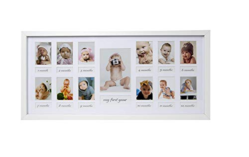 BD ART My Baby First Year - 23x50cm White Picture Frame with Mat for 12Pictures 5x7cm and 1 Picture 9x13cm (1 Year Picture Frame)