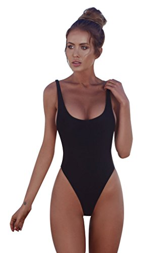 QDASZZ Women One Piece Swimsuits, Sexy High Cut Low Back One Piece Swimwear Fashion Bathing Suits(Black) ((US 8-10) L) (Pornstar With Best Legs)