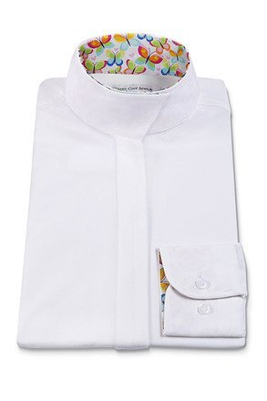 RJ Classics Prestige Ladies Wrap Collar Show Shirt White w/ Butterfly Trim (40)