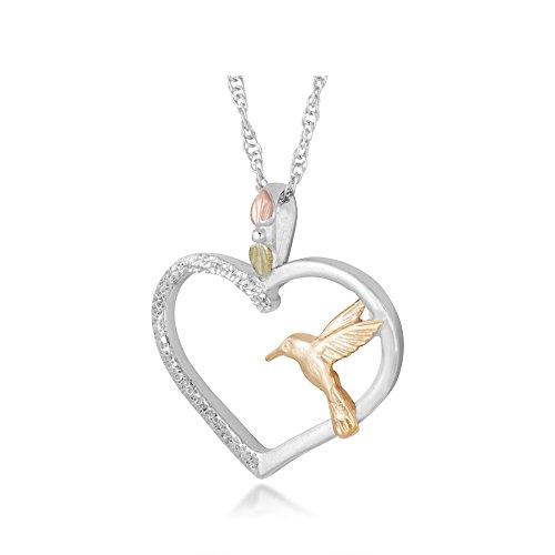 Black Hills Gold Hummingbird Pendant - Landstroms Heart Shaped Hummingbird Black Hills Pendant Necklace in Sterling Silver