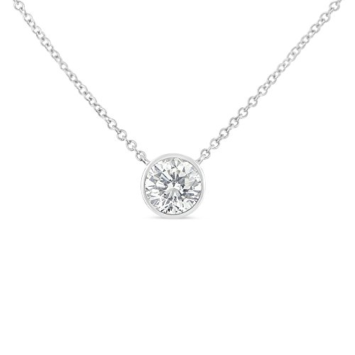 (Original Classics 10K White Gold Bezel-Set Diamond Solitaire Pendant Necklace (0.1 cttw, H-I Color, SI2-I1 Clarity))
