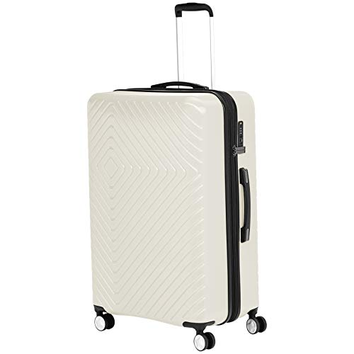 AmazonBasics Geometric Hard Shell Carry-On Rolling Spinner Suitcase Luggage - 28 Inch, Cream