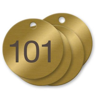 1-1/2 inch Numbered Solid Brass Valve Tags - Pack of 100 (101-200) by NapTags