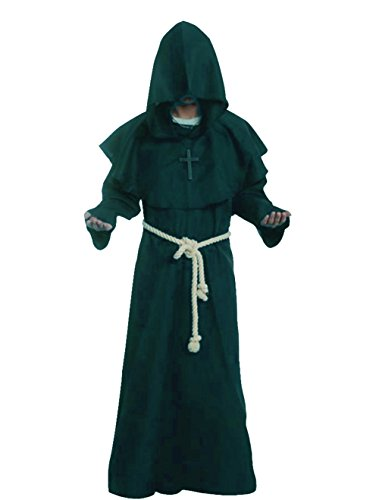 Friar Medieval Hooded Monk Renaissance Priest Robe Costume Cosplay Green XL,X-Large,Green