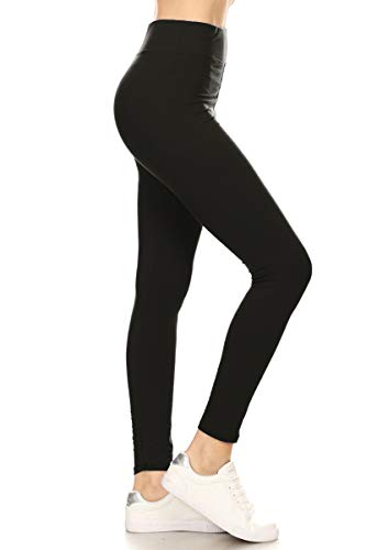 LYR128-BLACK Basic Yoga Solid Leggings, One Size