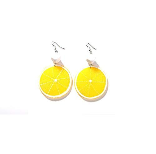(Fashion Fruit Earrings Acrylic Earrings for Women lemon strawberry Pomegranate Kiwifruit watermelon tomato Earrings-yellow lemon)