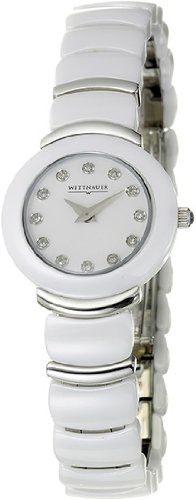 Wittnauer Ladies Round White Ceramic 8 Diamond Watch 12P06 (Watch Ceramic Wittnauer Womens)
