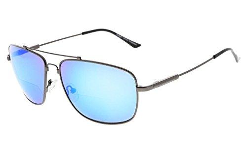 13 Metal Sunglasses - Eyekepper Memory Bifocal Sunglasses Bendable Titanium Reading Sunglasses (Gunmetal Frame Blue Mirror, 3.50)