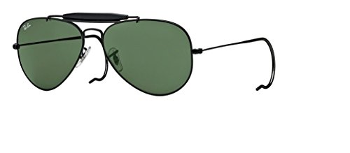 Ray Ban Aviator Wrap Sunglasses - Ray Ban Outdoorsman RB3030 L9500 58mm Black Frame, Green Lens