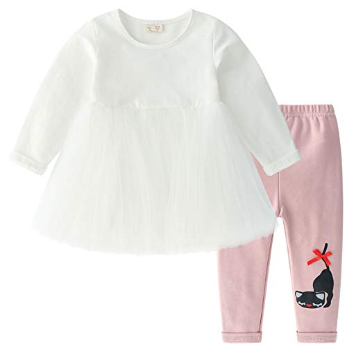 CECORC Cute Baby Outfits for Girls, Ruffled Tulle Cotton Long-Sleeve Dress, Stretchy Leggings, 2 pcs Warm Seasonal Wear (White Dress with Pink Pants, 12-18 Months) -