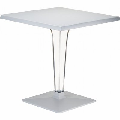 Ice Werzalit Top Square Dining Table with Transparent Base 28 inch Silver