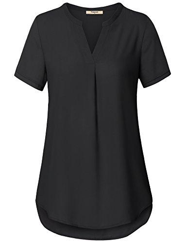 (Timeson Chiffon Shirts for Women, Lady Office Tops V Neck Short Sleeve Curved Hem Loose Woven Shirt Black XX-Large)