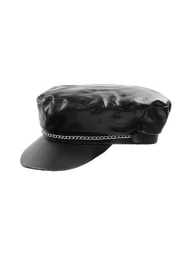 1aae7317801 Amazon.com  Jacobson Vinyl Bikers Cap with Silver Chain  Clothing