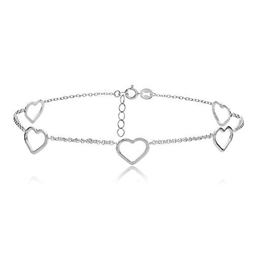 ng Silver Open Hearts Chain Anklet (Loop Sterling Silver Chain)