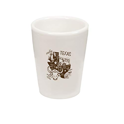 (Style In Print Brown Cowboy Texas Boots Ceramic Shot Glass)