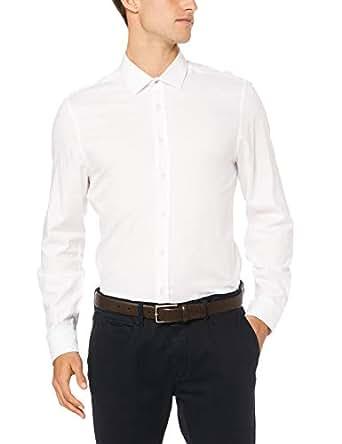 Ben Sherman Men's Long Sleeve Textured 'Camden' Fit Formal Shirt, Bright White, Small