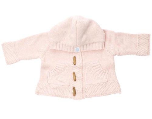 Beba Bean - Baby Cotton Knit Hoodie Sweater, Pink 3 - 6 Months