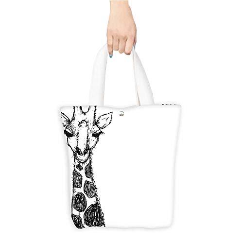 Custom Printed Grocery Tote Bag Graphic Safari Giraffe His Neck Spots African Wild Character Black Eco-Friendly Multi Purpose W11 x H11 x D3 -