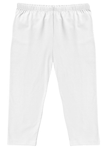 CAOMP Girl's Capri Crop Leggings, Organic Cotton Spandex, School or Play White 9 / 10